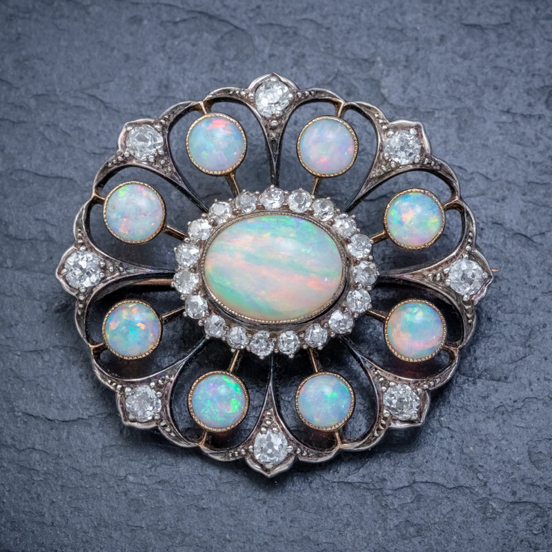 ANTIQUE VICTORIAN OPAL DIAMOND BROOCH NATURAL 5.1CT OPALS CIRCA 1900 FRONT