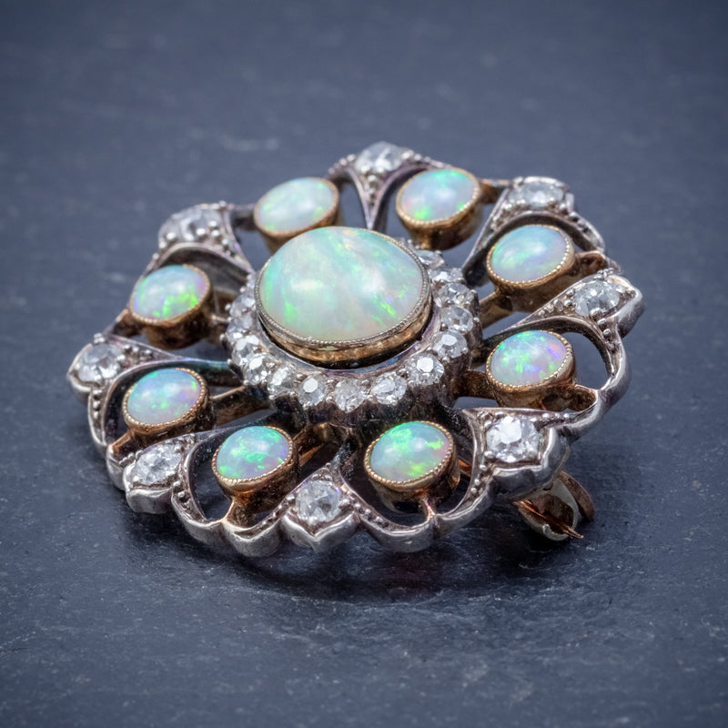 ANTIQUE VICTORIAN OPAL DIAMOND BROOCH NATURAL 5.1CT OPALS CIRCA 1900 SIDE