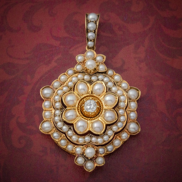 ANTIQUE VICTORIAN PEARL DIAMOND FLOWER PENDANT 18CT GOLD CIRCA 1900 COVER