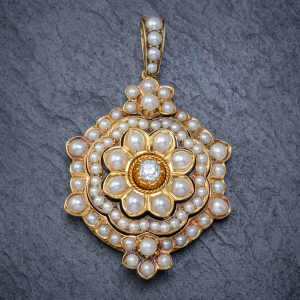 ANTIQUE VICTORIAN PEARL DIAMOND FLOWER PENDANT 18CT GOLD CIRCA 1900 FRONT