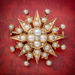 ANTIQUE VICTORIAN PEARL DIAMOND STAR BROOCH 18CT GOLD CIRCA 1900 COVER