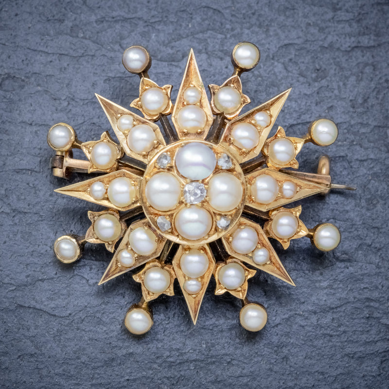 ANTIQUE VICTORIAN PEARL DIAMOND STAR BROOCH 18CT GOLD CIRCA 1900 FRONT