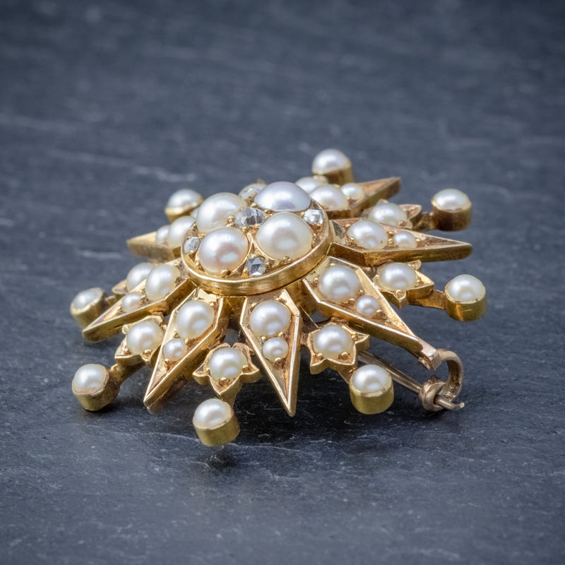 ANTIQUE VICTORIAN PEARL DIAMOND STAR BROOCH 18CT GOLD CIRCA 1900 SIDE