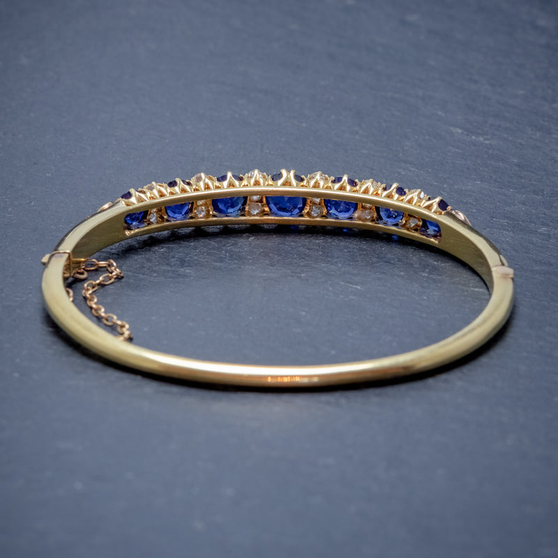 ANTIQUE VICTORIAN SAPPHIRE DIAMOND BANGLE 18CT GOLD 5.46CT OF NATURAL SAPPHIRE WITH CERT BACK