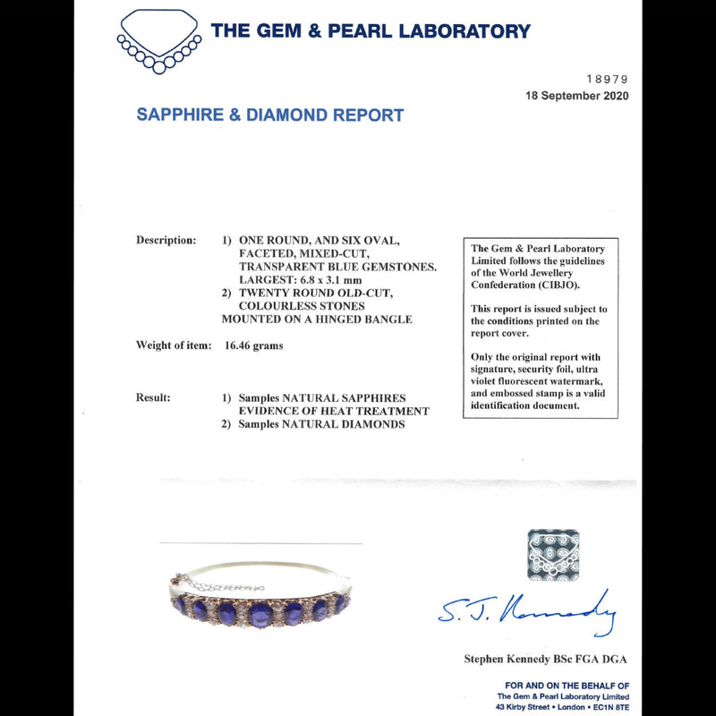 ANTIQUE VICTORIAN SAPPHIRE DIAMOND BANGLE 18CT GOLD 5.46CT OF NATURAL SAPPHIRE WITH CERT CERT