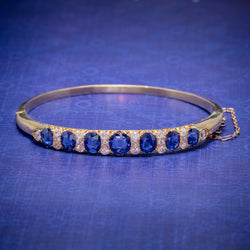 ANTIQUE VICTORIAN SAPPHIRE DIAMOND BANGLE 18CT GOLD 5.46CT OF NATURAL SAPPHIRE WITH CERT COVER