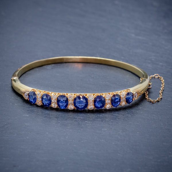 ANTIQUE VICTORIAN SAPPHIRE DIAMOND BANGLE 18CT GOLD 5.46CT OF NATURAL SAPPHIRE WITH CERT FRONT