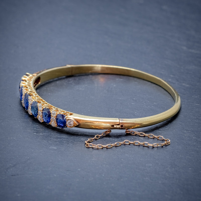 ANTIQUE VICTORIAN SAPPHIRE DIAMOND BANGLE 18CT GOLD 5.46CT OF NATURAL SAPPHIRE WITH CERT SIDE