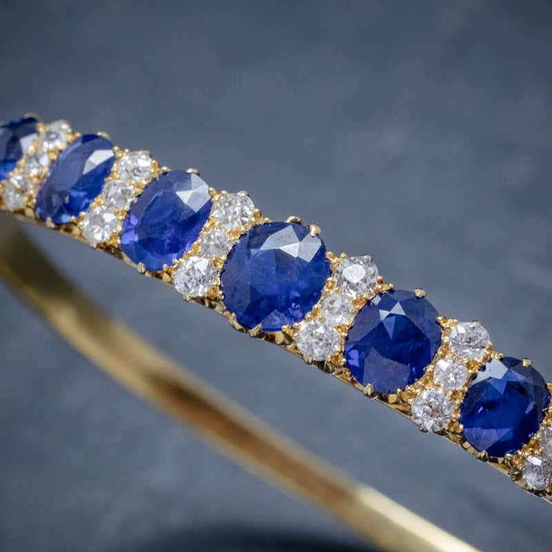 ANTIQUE VICTORIAN SAPPHIRE DIAMOND BANGLE 18CT GOLD 5.46CT OF NATURAL SAPPHIRE WITH CERT STONES