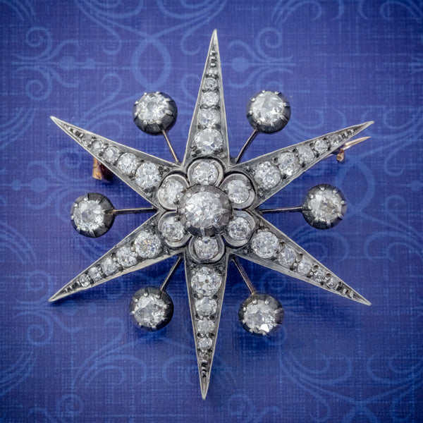 ANTIQUE VICTORIAN STAR BROOCH PENDANT 18CT GOLD SILVER 4.30CT DIAMONDS BOXED CIRCA 1900 COVER