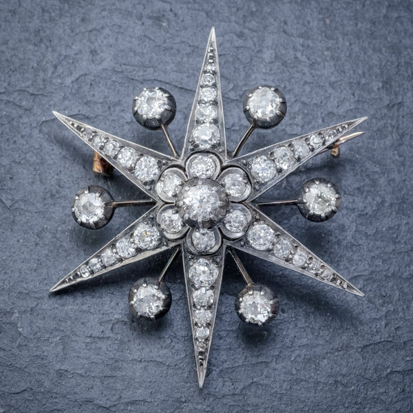 ANTIQUE VICTORIAN STAR BROOCH PENDANT 18CT GOLD SILVER 4.30CT DIAMONDS BOXED CIRCA 1900 FRONT