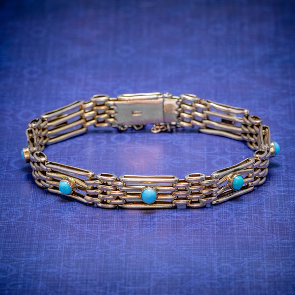 ANTIQUE VICTORIAN TURQUOISE GATE BRACELET 9CT GOLD CIRCA 1900 COVER