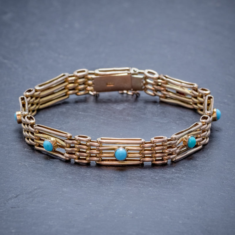 ANTIQUE VICTORIAN TURQUOISE GATE BRACELET 9CT GOLD CIRCA 1900 FRONT