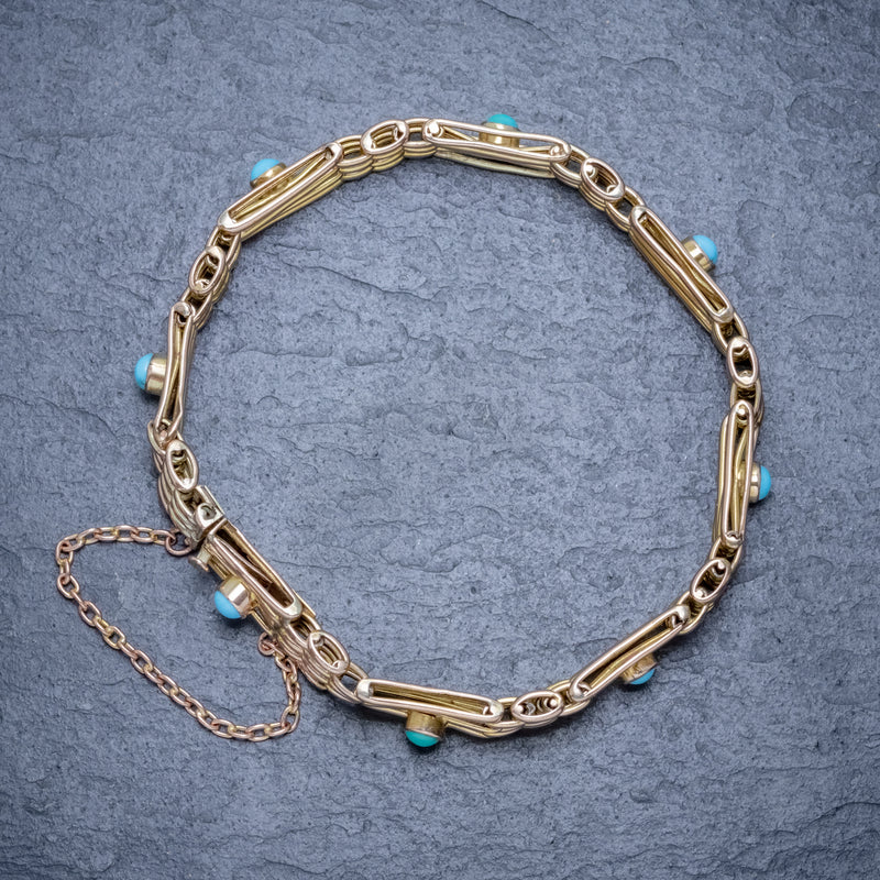 ANTIQUE VICTORIAN TURQUOISE GATE BRACELET 9CT GOLD CIRCA 1900 TOP