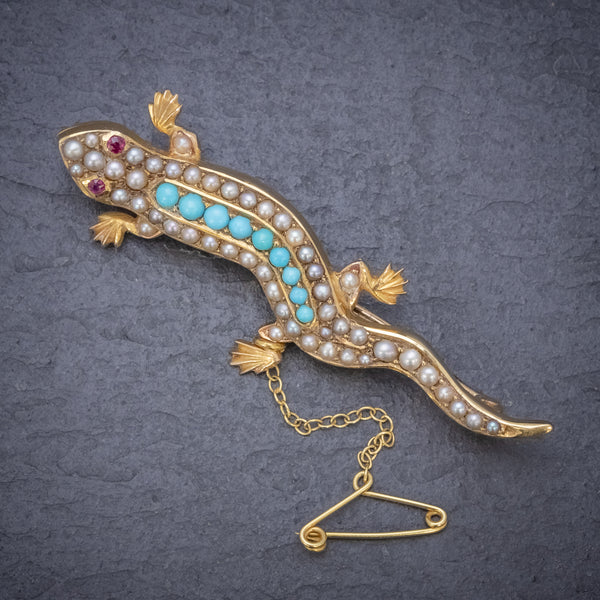 ANTIQUE VICTORIAN TURQUOISE PEARL SALAMANDER BROOCH 15CT GOLD CIRCA 1890 FRONT