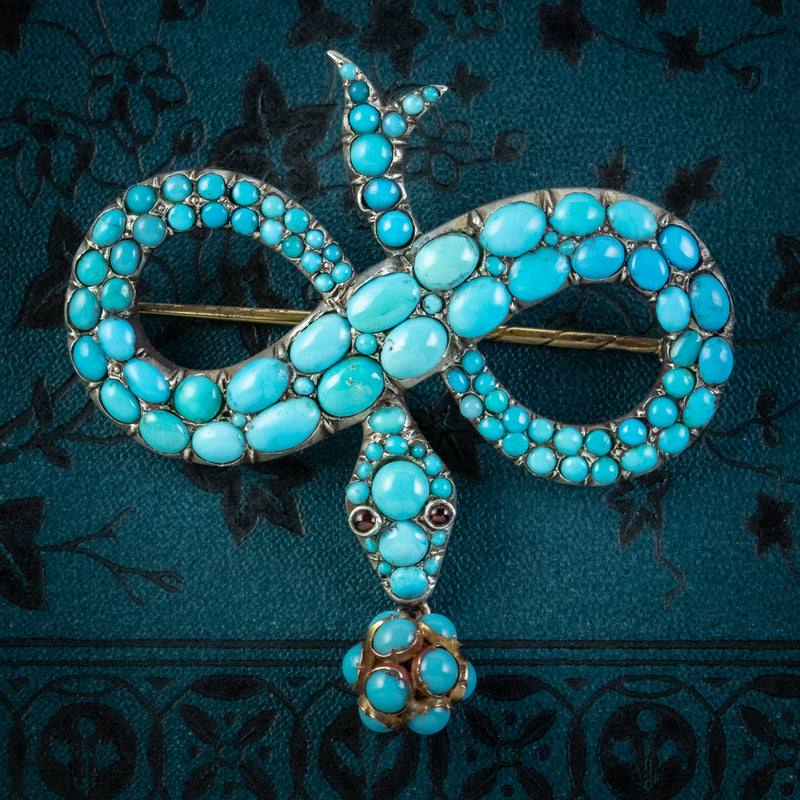 ANTIQUE VICTORIAN TURQUOISE SNAKE BROOCH GARNET EYES SILVER 18CT GOLD CIRCA 1850