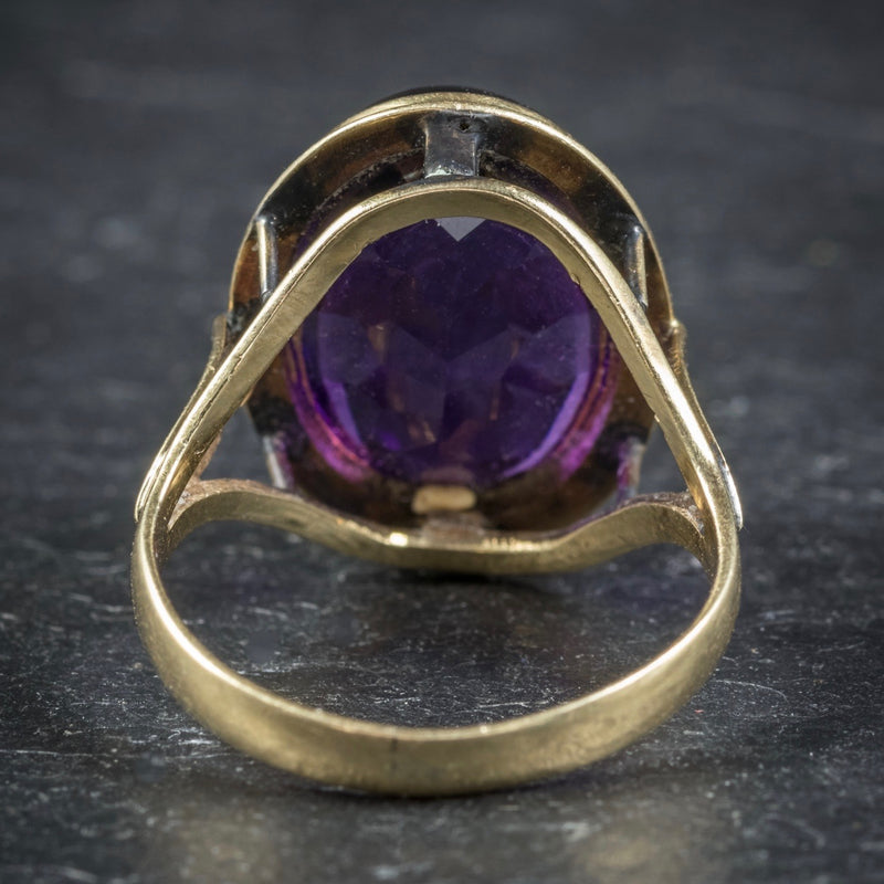 Antique Arts and Crafts Cabochon Amethyst Ring 18ct Gold Circa 1900 BACK