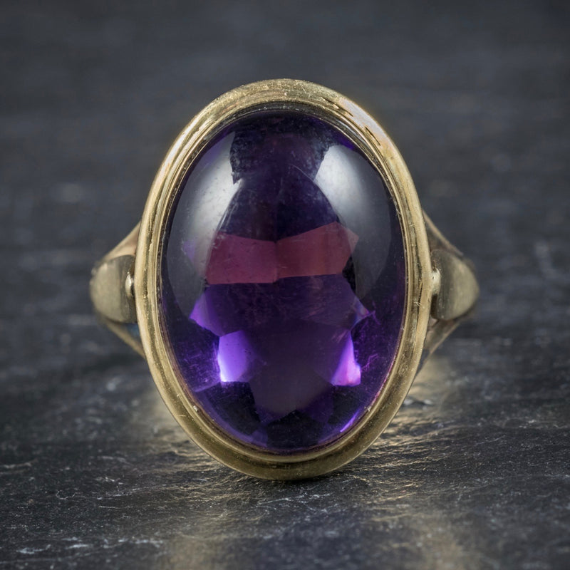 Antique Arts and Crafts Cabochon Amethyst Ring 18ct Gold Circa 1900 FRONT