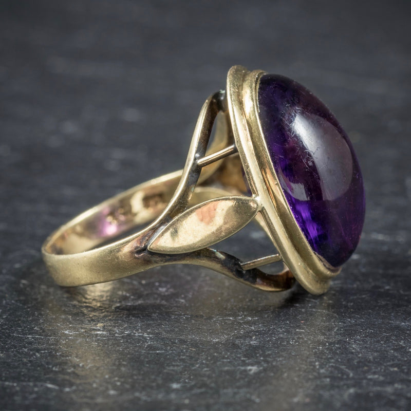 Antique Arts and Crafts Cabochon Amethyst Ring 18ct Gold Circa 1900 SIDE2