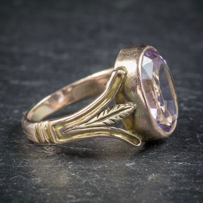 Antique Arts and Crafts Purple Spinel Ring 15ct Gold Circa 1900 SIDE2