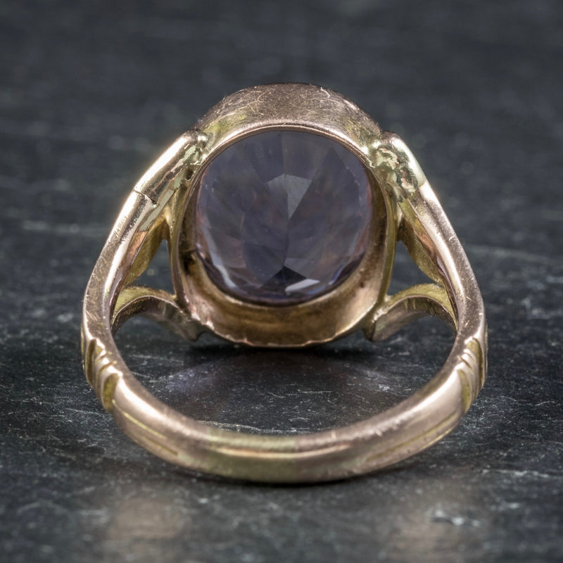 Antique Arts and Crafts Purple Spinel Ring 15ct Gold Circa 1900 BACK