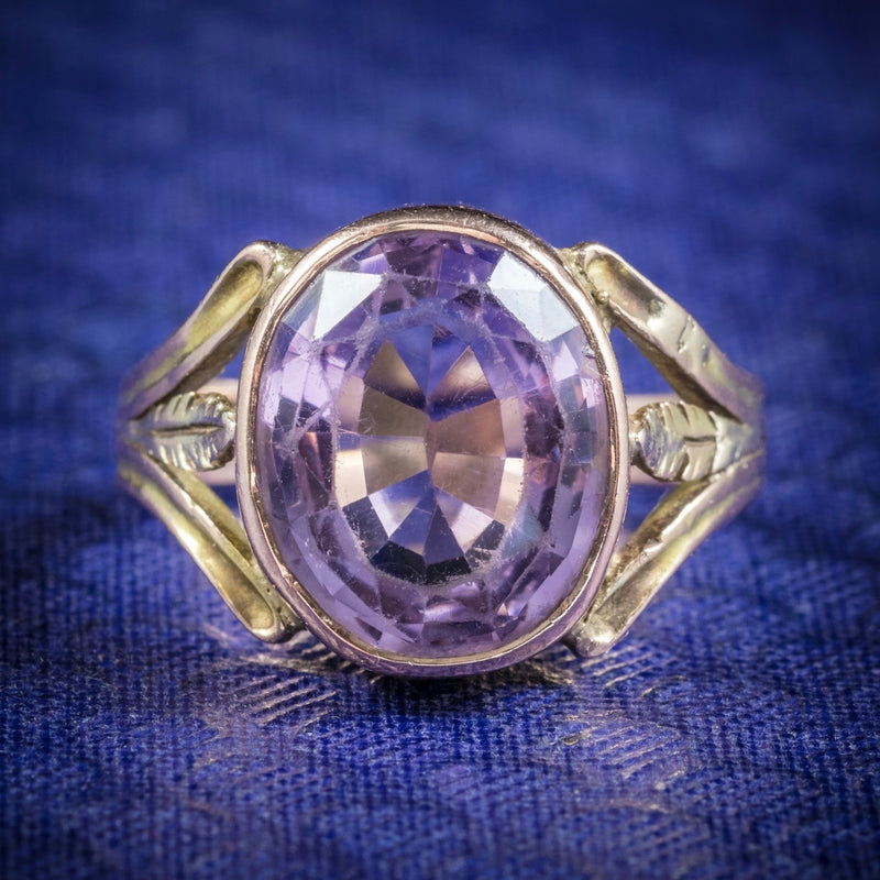 Antique Arts and Crafts Purple Spinel Ring 15ct Gold Circa 1900 COVER