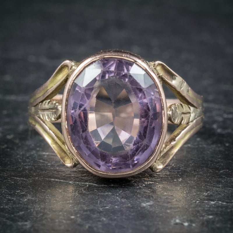 Antique Arts and Crafts Purple Spinel Ring 15ct Gold Circa 1900 FRONT