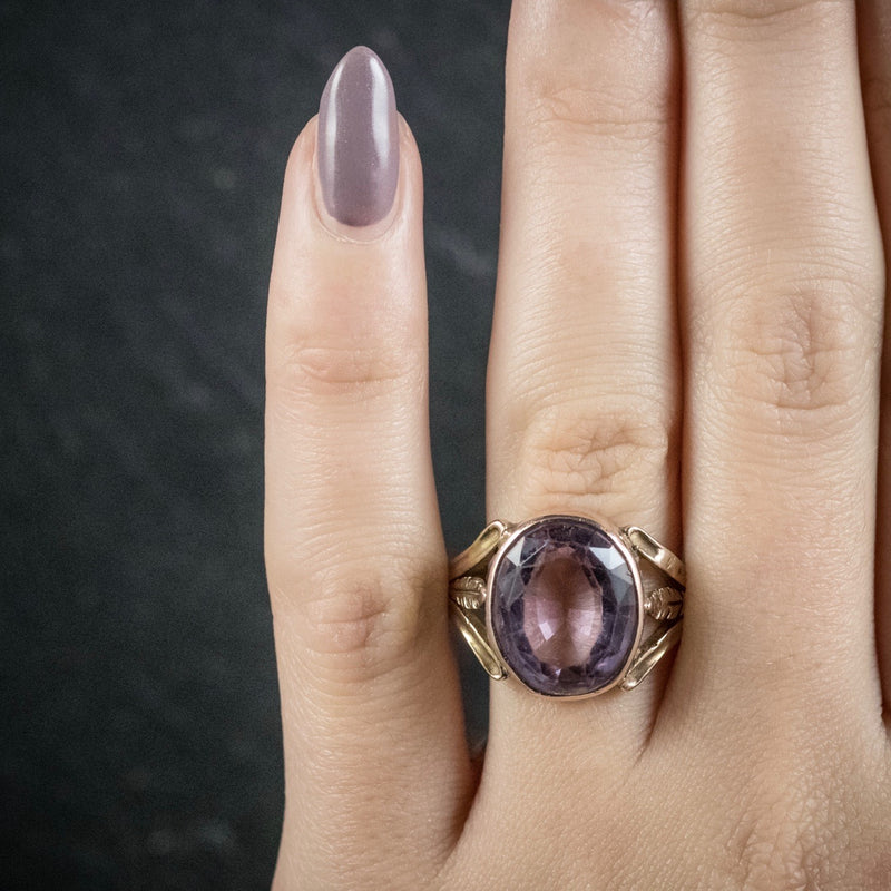 Antique Arts and Crafts Purple Spinel Ring 15ct Gold Circa 1900 HAND