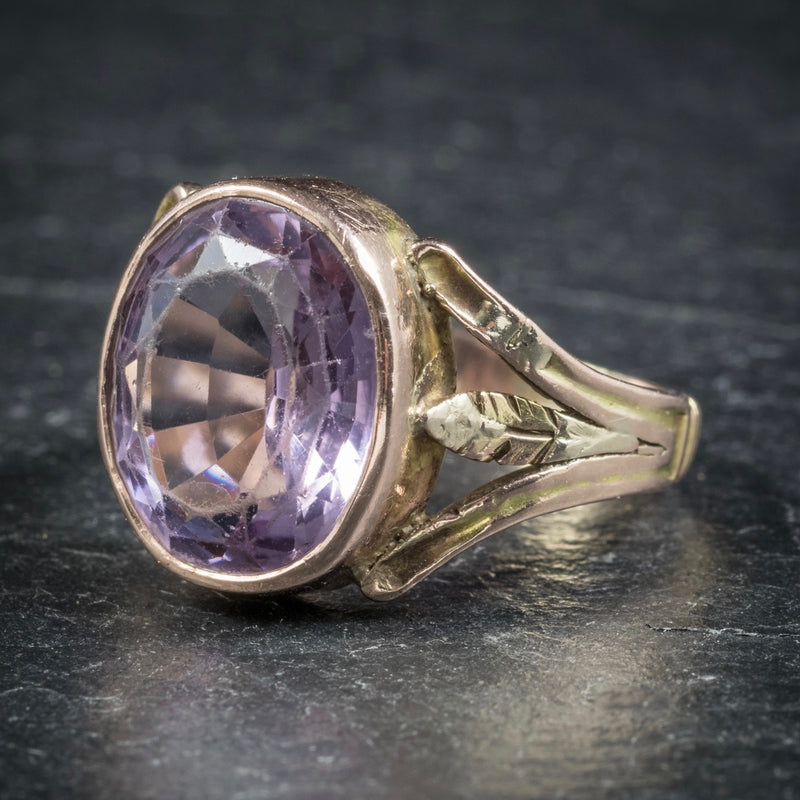 Antique Arts and Crafts Purple Spinel Ring 15ct Gold Circa 1900 SIDE1