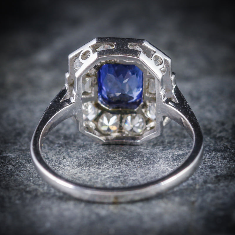 ANTIQUE ART DECO SAPPHIRE DIAMOND RING 18CT CIRCA 1920 BACK