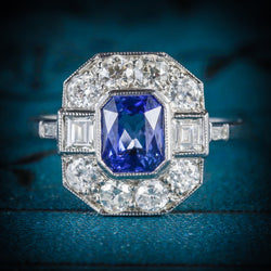 ANTIQUE ART DECO SAPPHIRE DIAMOND RING 18CT CIRCA 1920 COVER
