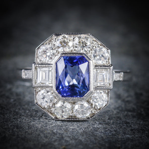 ANTIQUE ART DECO SAPPHIRE DIAMOND RING 18CT CIRCA 1920 FRONT