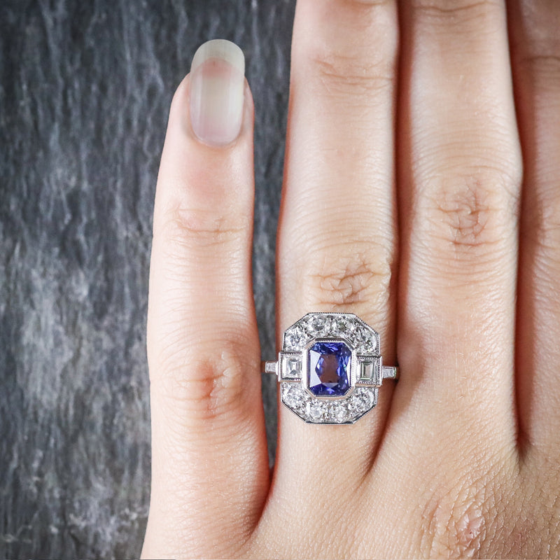ANTIQUE ART DECO SAPPHIRE DIAMOND RING 18CT CIRCA 1920 HAND