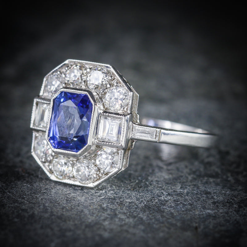 ANTIQUE ART DECO SAPPHIRE DIAMOND RING 18CT CIRCA 1920 SIDE