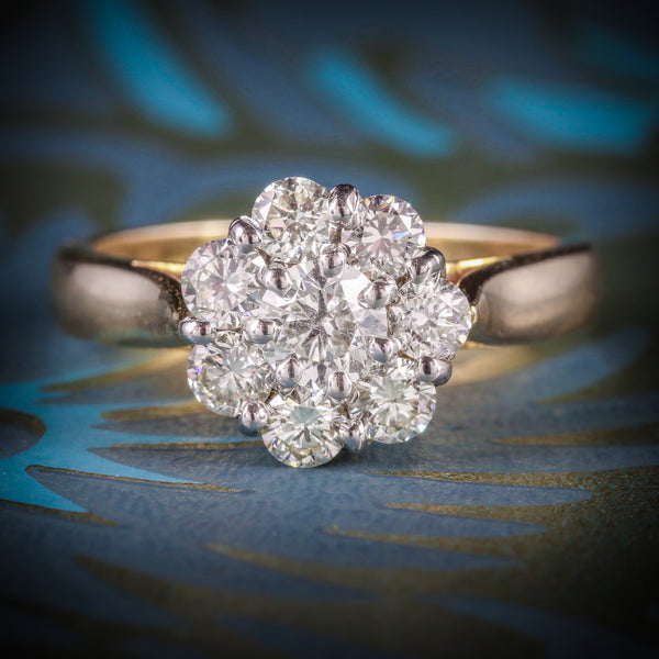 ANTIQUE DIAMOND CLUSTER RING 1.40CT 14CT GOLD COVER