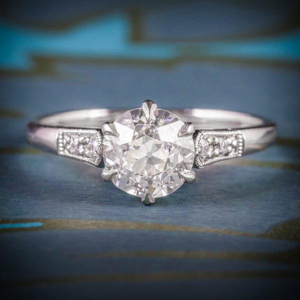 ANTIQUE DIAMOND SOLITAIRE ENGAGEMENT RING 1.50CT DIAMOND VVS1 COVER