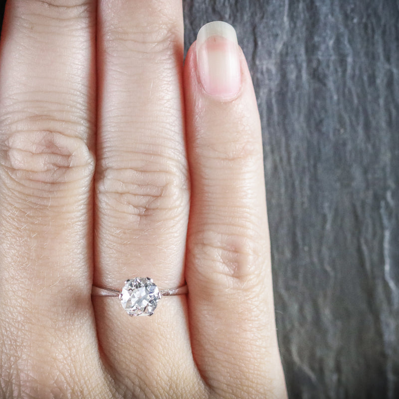 ANTIQUE EDWARDIAN 1.45CT DIAMOND SOLITAIRE ENGAGEMENT RING CIRCA 1910 HAND
