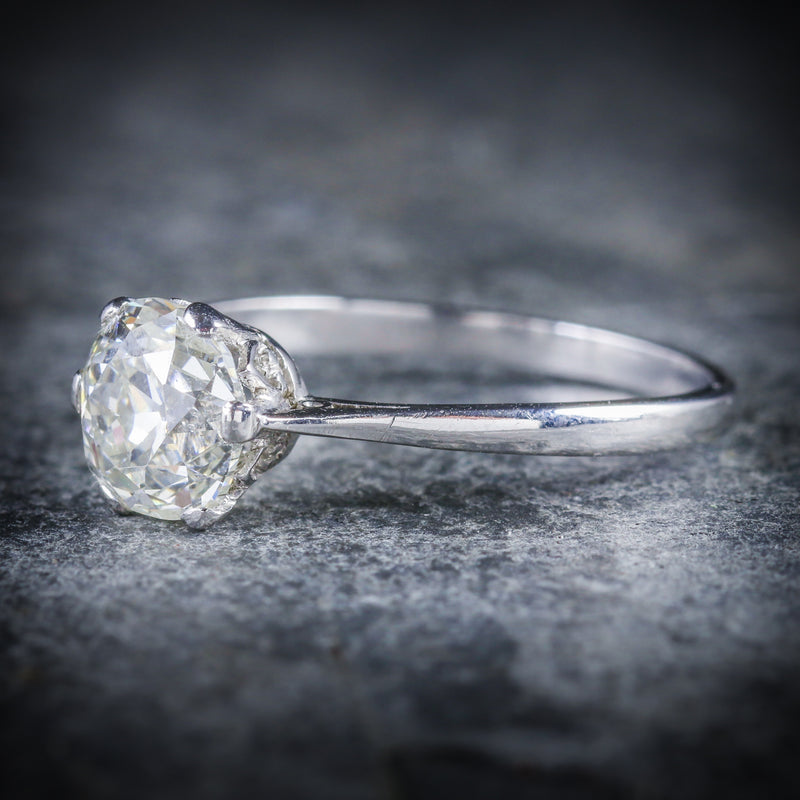 ANTIQUE EDWARDIAN 1.45CT DIAMOND SOLITAIRE ENGAGEMENT RING CIRCA 1910 SIDE
