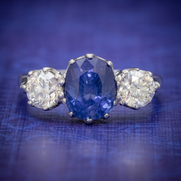 ANTIQUE EDWARDIAN 2.40CT SAPPHIRE DIAMOND TRILOGY RING PLATINUM CIRCA 1915 COVER