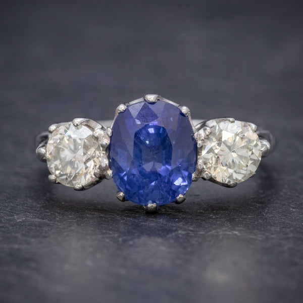 ANTIQUE EDWARDIAN 2.40CT SAPPHIRE DIAMOND TRILOGY RING PLATINUM CIRCA 1915 FRONT