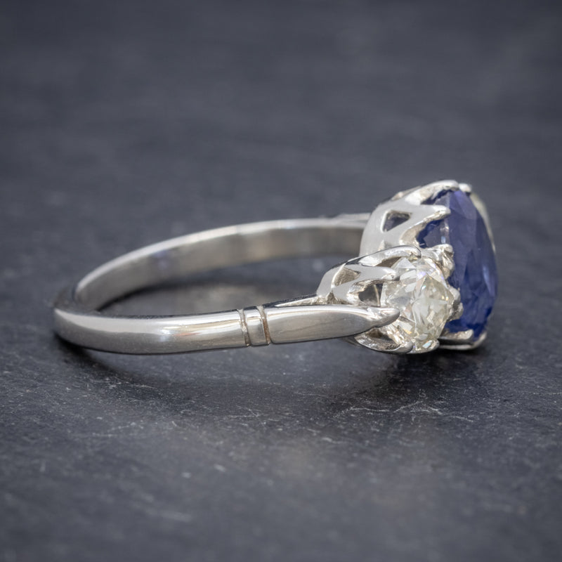 ANTIQUE EDWARDIAN 2.40CT SAPPHIRE DIAMOND TRILOGY RING PLATINUM CIRCA 1915 SIDE2