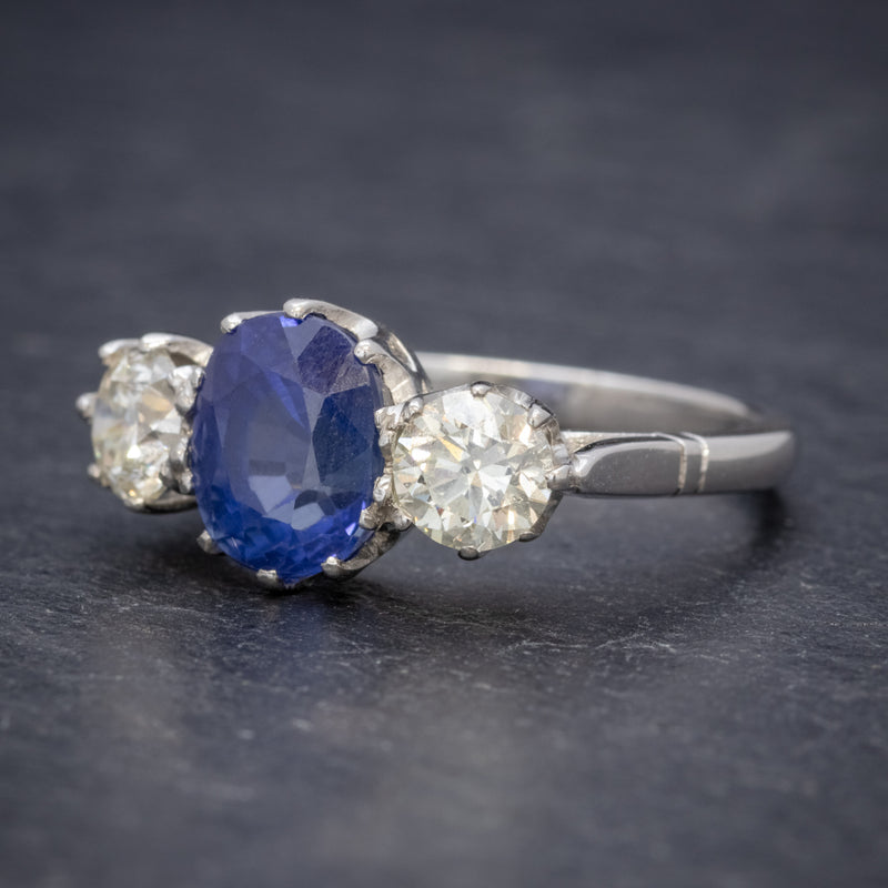 ANTIQUE EDWARDIAN 2.40CT SAPPHIRE DIAMOND TRILOGY RING PLATINUM CIRCA 1915 SIDE