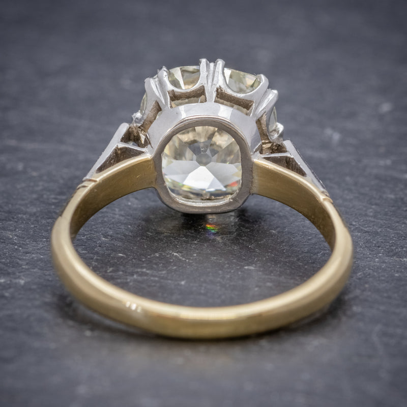 Antique Edwardian 3.88ct Diamond Solitaire Engagement Ring 18ct Gold Platinum Circa 1915 BACK