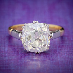 Antique Edwardian 3.88ct Diamond Solitaire Engagement Ring 18ct Gold Platinum Circa 1915 COVER