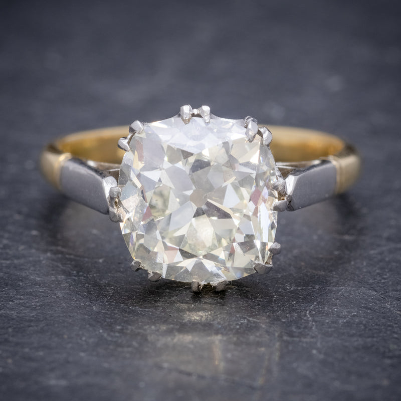 Antique Edwardian 3.88ct Diamond Solitaire Engagement Ring 18ct Gold Platinum Circa 1915 FRONT
