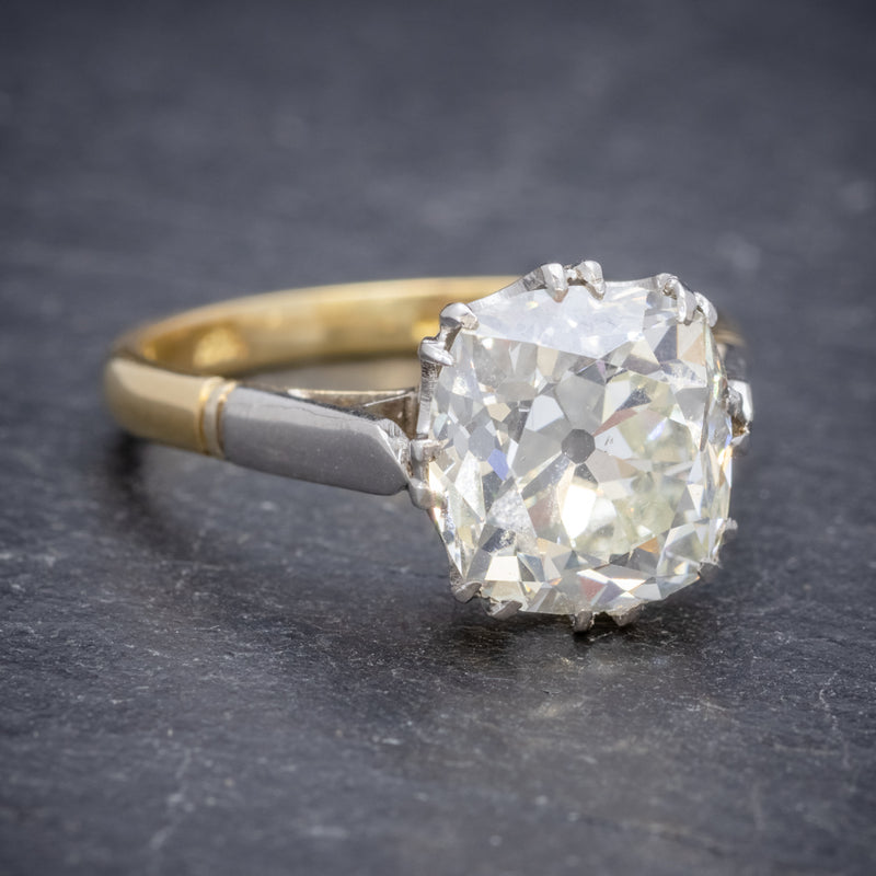 Antique Edwardian 3.88ct Diamond Solitaire Engagement Ring 18ct Gold Platinum Circa 1915 SIDE2