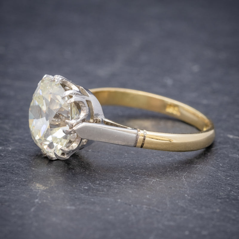Antique Edwardian 3.88ct Diamond Solitaire Engagement Ring 18ct Gold Platinum Circa 1915 SIDE