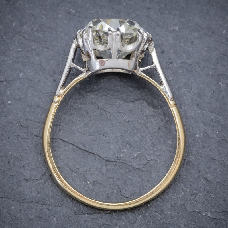 Antique Edwardian 3.88ct Diamond Solitaire Engagement Ring 18ct Gold Platinum Circa 1915 TOP