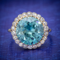 Antique Edwardian 8ct Blue Zircon Cluster Ring Circa 1905 cover