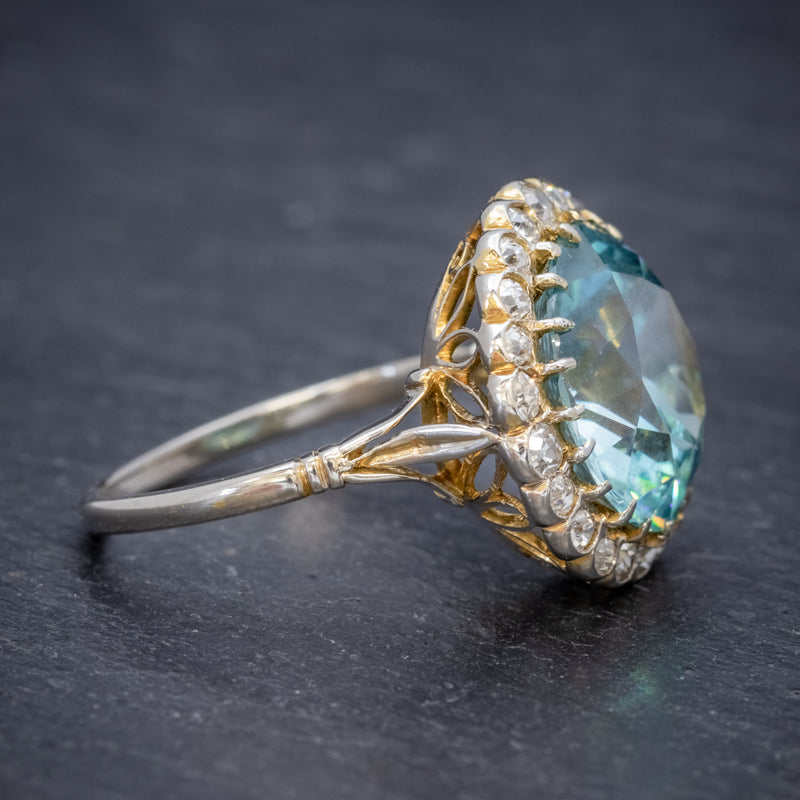 Antique Edwardian 8ct Blue Zircon Cluster Ring Circa 1905 side2
